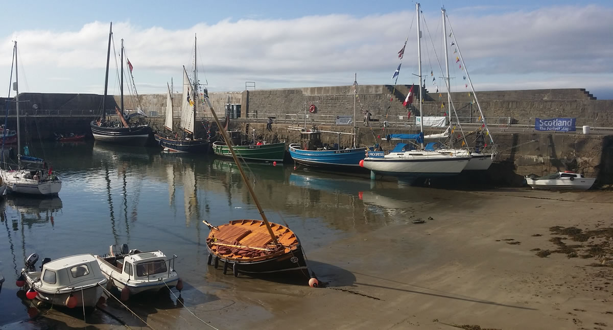 Picture of the portsoy boat festival before the crowds arrive.