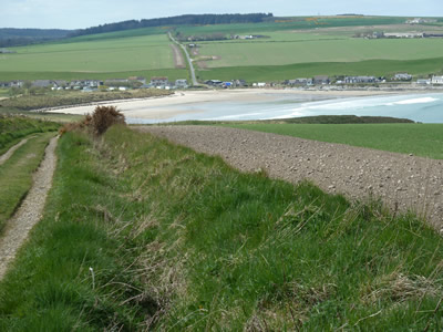Picture of costal path from Redhythe Farm Holiday Cottage walking towards Sandend beach.